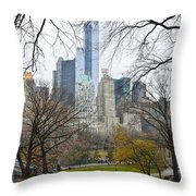 Central Park South Buildings From Central Park Throw Pillow