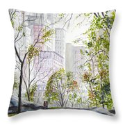 Central Park Stroll Throw Pillow
