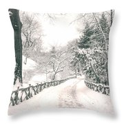 Central Park Winter Landscape Throw Pillow by Vivienne Gucwa