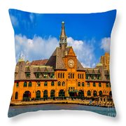 Central Railroad Of New Jersey Terminal Throw Pillow