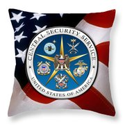 Central Security Service - C S S Emblem Over American Flag Throw Pillow