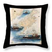 Centurion Trawl Fishing Boat Nautical Chart Art Throw Pillow