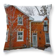 Century Home In Winter 3 Throw Pillow