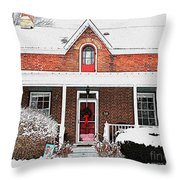 Century Home With Christmas Wreath Throw Pillow