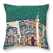 Ceremonial Lodge In Canadian Museum Of Civilization In Gatineau- Throw Pillow