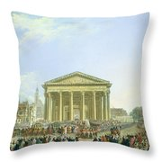 Ceremony Of Laying The First Stone Of The New Church Of St. Genevieve In 1763, 1764 Oil On Canvas Throw Pillow