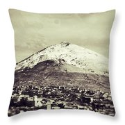 Cerro Rico Potosi Black And White Vintage Throw Pillow by For Ninety One Days