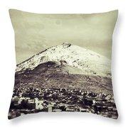 Cerro Rico Potosi Black And White Vintage Throw Pillow
