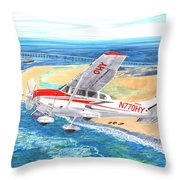 Cessna 206 Flying Over The Outer Banks Throw Pillow