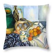 Cezanne Still Life With Apples In Watercolor Throw Pillow