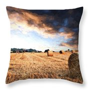 Cezanne Style Digital Painting Beautiful Golden Hour Hay Bales Sunset Landscape Throw Pillow