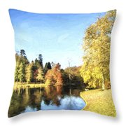 Cezanne Style Digital Painting Beautiful Landscape Of Autumn Trees And Colors Reflected In Lake Throw Pillow