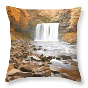 Cezanne Style Digital Painting Beautiful Woodland Stream And Waterfall In Summer Throw Pillow