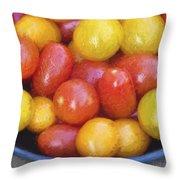 Cezanne Style Digital Painting Fresh Juicy Heirloom Tomatoes In Rustic Setting Throw Pillow