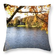 Cezanne Style Digital Painting Lake Landscape Autumn Fall Throw Pillow