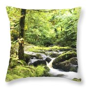 Cezanne Style Digital Painting Landscape Of Becky Falls Waterfall In Dartmoor National Park Eng Throw Pillow