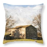 Cezanne Style Digital Painting Panorama Landscape Traditional Stone Barn In Autumnal Countrysid Throw Pillow
