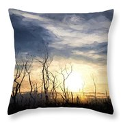 Cezanne Style Digital Painting Stark Bush Silhouette Against Stunning Sunset Sky Throw Pillow