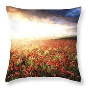 Cezanne Style Digital Painting Stunning Poppy Field Landscape Under Summer Sunset Sky Throw Pillow