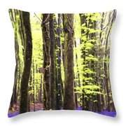 Cezanne Style Digital Painting Vibrant Bluebell Forest Landscape Throw Pillow