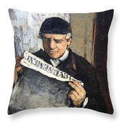 Cezanne's Father Reading Le Evenement Throw Pillow