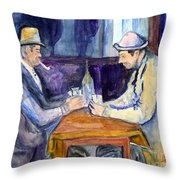 Cezannes The Card Players In Watercolor Throw Pillow