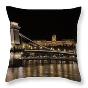 Chain Bridge And Buda Castle Winter Night Throw Pillow