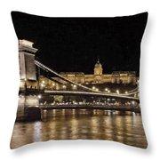 Chain Bridge And Buda Castle Winter Night Painterly Throw Pillow