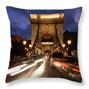 Chain Bridge Budapest  Throw Pillow
