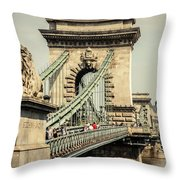 Chain Bridge Crossing The Danube River Throw Pillow