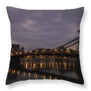Chain Bridge Dawn Throw Pillow