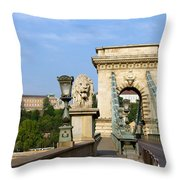 Chain Bridge In Budapest Throw Pillow