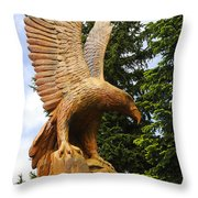 Chainsaw Carved Eagle Throw Pillow