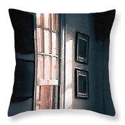 Chair In A Blue Corner Throw Pillow