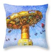 Chairoplane Waveswinger Throw Pillow