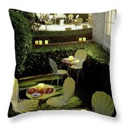Chairs And Tables In A Garden Throw Pillow