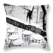 Chairs And Tables In Snow Throw Pillow
