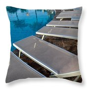 Chairs Around Hotel Pool Throw Pillow by Brandon Bourdages