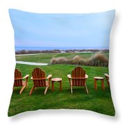 Chairs At The Eighteenth Hole Throw Pillow
