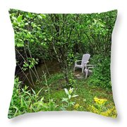 Chairs By The Creek In Summer Throw Pillow