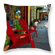 Chairs On A Sidewalk Throw Pillow
