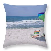 Chairs On The Beach, Gulf Of Mexico Throw Pillow