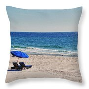 Chairs On The Beach With Umbrella Throw Pillow