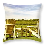 Chairs Overlooking Vineyard Throw Pillow
