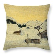 Chalets In Snow Throw Pillow by Giovanni Segantini