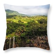 Chamarel Waterfall. Mauritius Throw Pillow