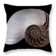 Chambered Nautilus Cross-section Throw Pillow