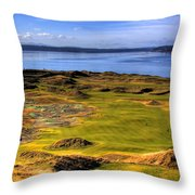 Chambers Bay Golf Course II Throw Pillow by David Patterson