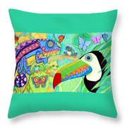 Chameleon And Toucan Throw Pillow