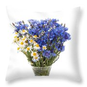 White Camomile And Blue Cornflower In Glass Vase  Throw Pillow
